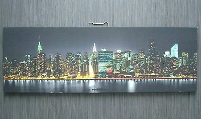 ( New York NYC Panoramic Skyline Cityscape Night Time Print on Canvas Art 30