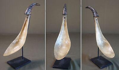 Large 1800 Native American NW Alaska Tlingit Tsimshian Feast Figural Horn Ladle