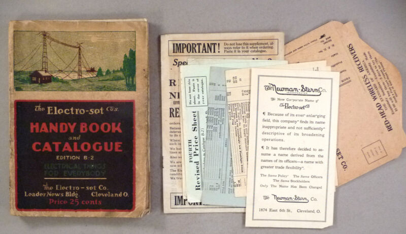 Electro-Set CATALOG - 1916 -- with its Supplement, Price List, forms & envelopes