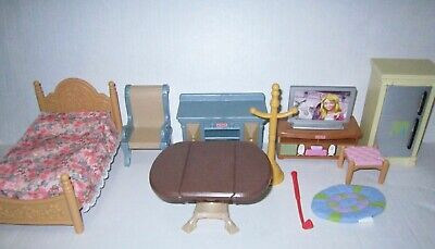 Fisher Price Loving Family Dollhouse Bed Buffet TV Table Fridge