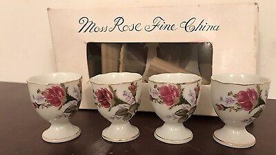 Vintage Egg Cups -  4  Moss Rose ✨Nice✨