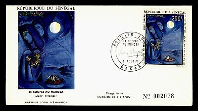 DR WHO 1973 SENEGAL FDC CHAGALL ART PAINTING CACHET  g18721