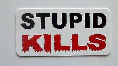 3 - Stupid Kills 2 Roughneck Hard Hat Oil Field Tool Box Biker Helmet Sticker
