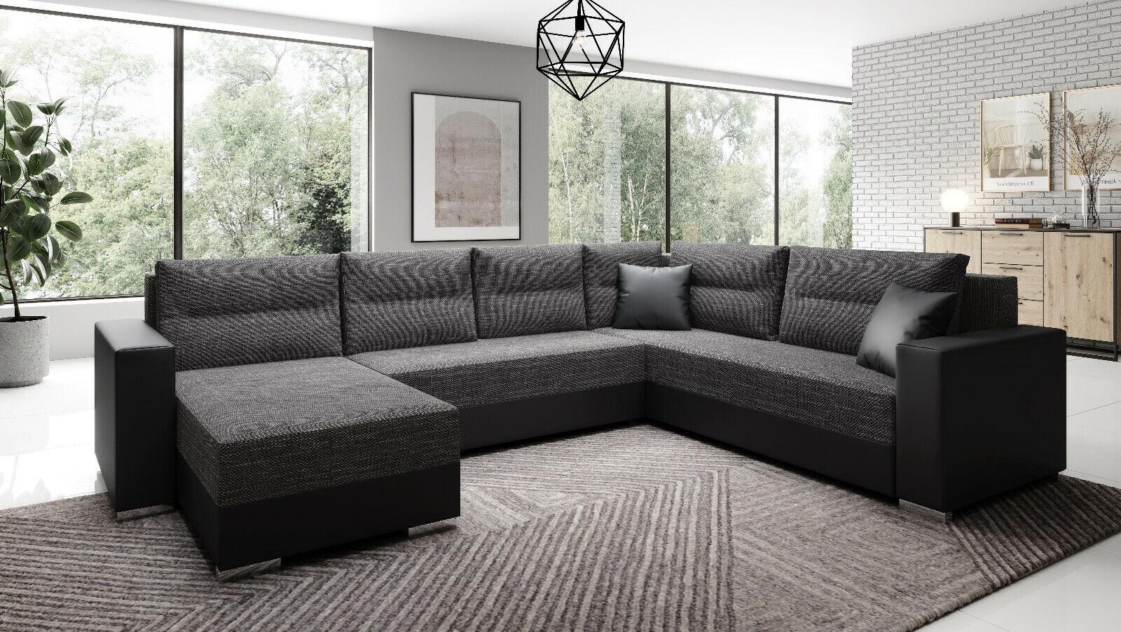 Sofa Couch Garnitur Sofagarnitur CAPTAIN U mit Schlaffunktion Wohnlandschaft NEU