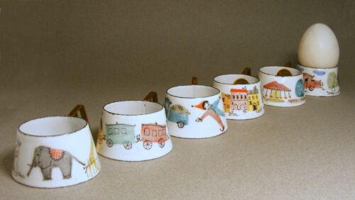 6 Vintage Steinbock Email Austria Enamel Egg Cups