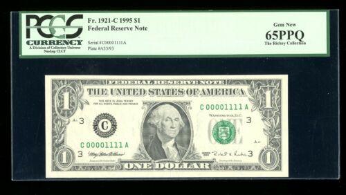 DBR 1995 $1 Binary 1/0 Philadelphia Fr. 1921-C PCGS 65 PPQ Serial C00001111A