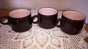 Vintage Retro Black and Pink Mugs Cups x 3 Golden Grove Tea Tree Gully Area Preview