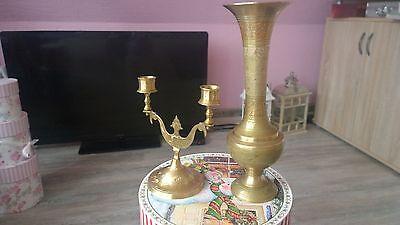 """Messingvase und Kerzenständern """"Made in India"""""""