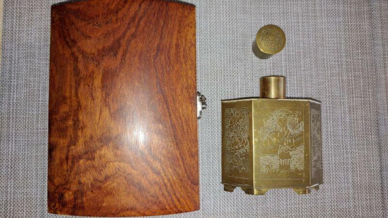 水波纹鬼眼花梨木盒 刻铜器六方罐Water Texture huali wood Box carved copper brass tea Jar artwork