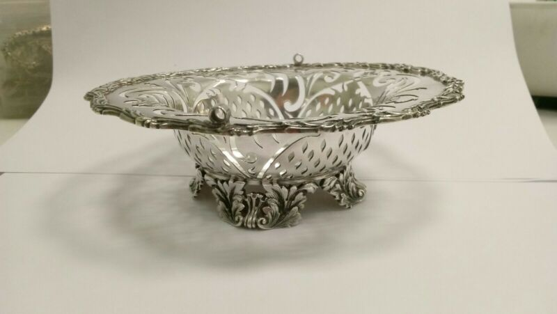 Vintage Sterling Silver Tiffany & Co Pierced Ornate Footed Bon Bon Dish Basket