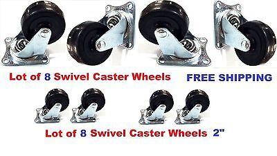 Lot Of 8 Heavy Duty 2 Swivel Caster Wheels Rubber Base With Top Plate Bearing