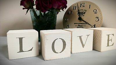 shabby chic wooden love blocks decorative accessories Christmas blocks Christmas