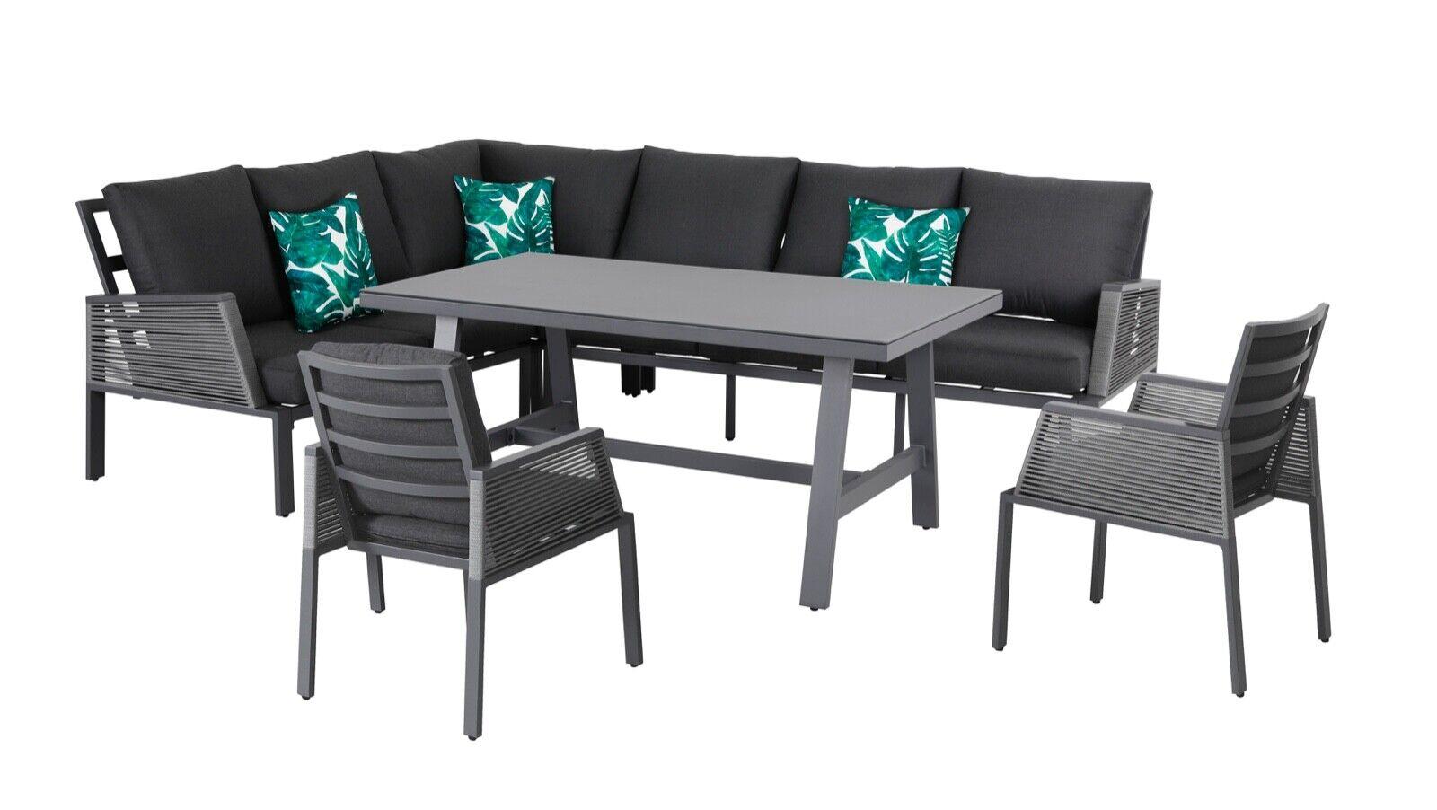 XL Alu Rope Dining Eck Lounge Elba inkl. 2x Sessel Wetterfest Garnitur Essgruppe