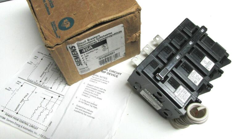 * NIB .. Siemens 40A Circuit Breaker w/ Shunt Trip Cat# B34000S01 ... WF-05A