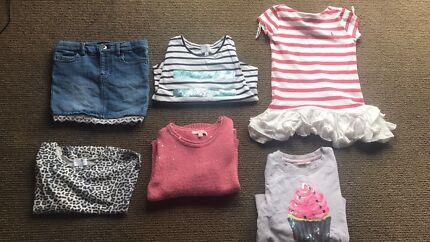 6 x Girls tops size 4-5 and 1 x Bardot skirt size 5.