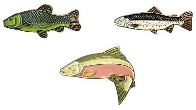 Trout Tench & Salmon Freshwater Game Fish Angling Pin Angler Enamel Badges NEW