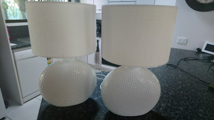 Two lovely white lamps and shades