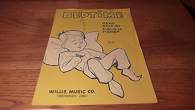 VINTAGE 1979 EASY PIANO SHEET MUSIC -BEDTIME - SLEEPING BABY BOY COVER ART Baby Boy Sheet Music