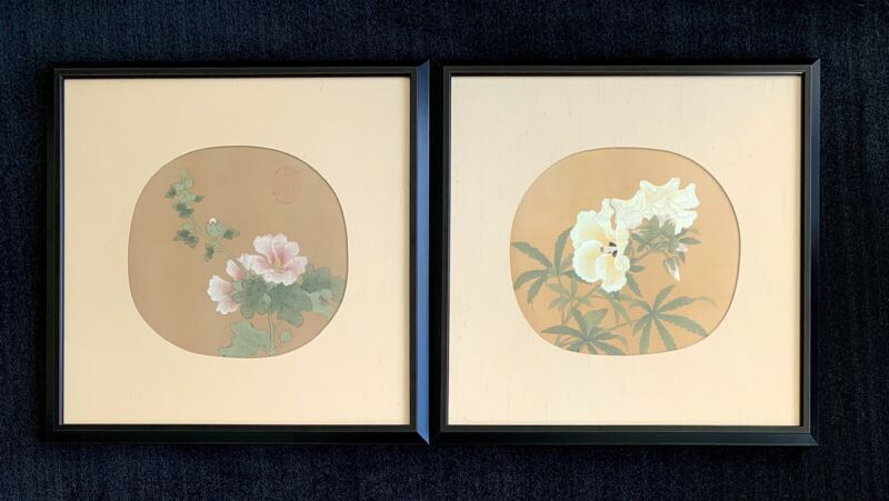 Chinese Hibiscus ~ Okra ~ fan paintings ~ silkscreen on silk ~ framed