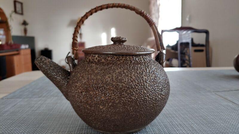 橘皮釉Japanese Meiji Vintage Unique Orange Glaze Ceramic Teapot Antique pottery Art