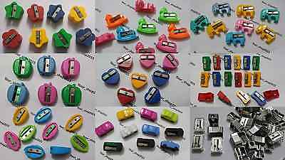 12 Plastic Pencil Sharpeners Many Colours Office School Great Value Free Pp