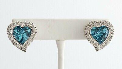 Stunning Signed AR LTD 14K White Gold 2 1/4ctw Diamond Blue Topaz Heart Earrings - $1,379.38