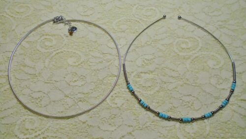 VINTAGE BLUE BEADED & SILVER TONE NECK WIRE CHOKER COLLAR NECKLACE LOT