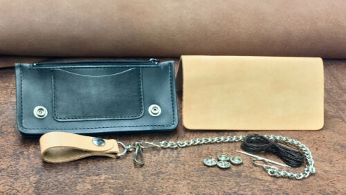 Hermann Oak Natural Drum Dyed Cowhide Leather Biker Wallet Kit With Chain
