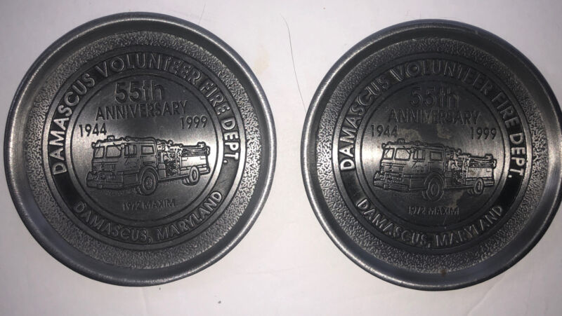 Damascus MD Volunteer Fire Department  Two  (2) Pewter Coasters Ltd. Edition.