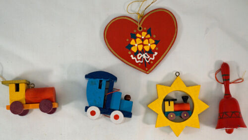 5 Old Hand Made Woodend Christmas Ornaments Heart Bell 3 Different Trains