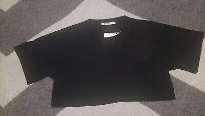T By Alexander Wang Crewneck Cropped T Shirt Black