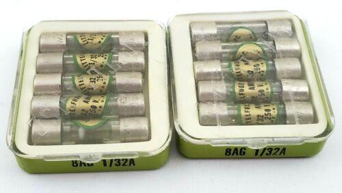 Lot of 10 Littelfuse 8AG 1/32A 361.031 250V 1/32 Amp Fuses Vintage