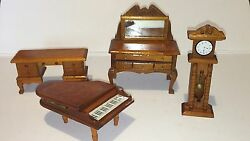 SET 4 WOOD MINIATURE DOLL FURNITURE PIANO MIRRORED BUFFET DESK GRANDFATHER CLOCK