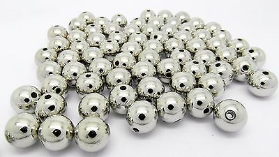 100 Silver Acrylic 10mm Spacer Beads Metallic Jewellery Making J22843
