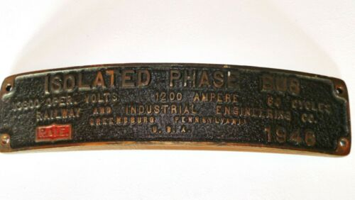 VINTAGE INDUSTRIAL CURVED RAILWAY PLAQUE CAST BRONZE 1946 GREENSBURG PA