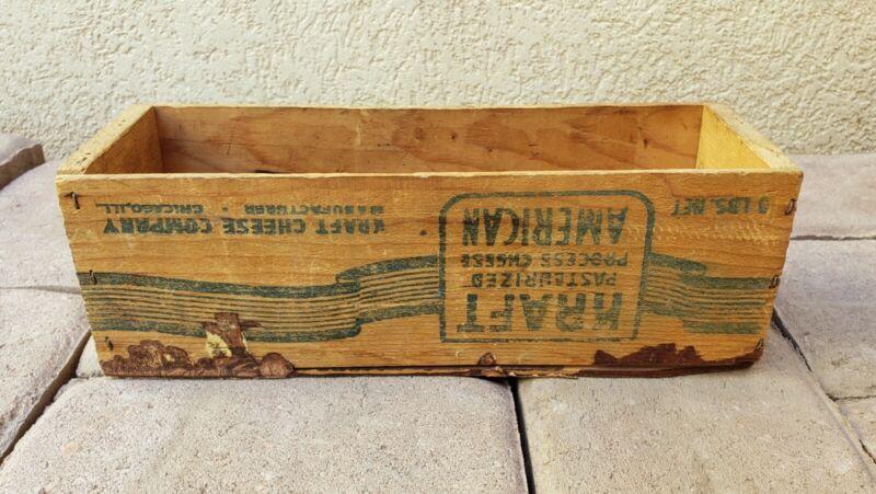 5 LBS Net KRAFT Brick American Process Cheese Box Vintage Antique Wood Wooden