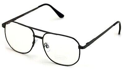 Metal Aviator Clear Len Glasses - Big Lens Spring Hinge Square Old Men (Old Aviator Glasses)