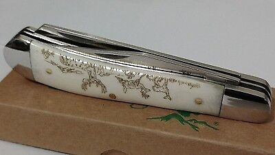 WHITE BONE HUNTING POCKET KNIFE W/ SCRIMSHAW BUCK DEER ENGRAVING - Pocket Knife Engraving