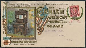 #301 ON MULTI-COLORED CORNISH AM. PIANO & ORGAN ADVT CVR W/ FLYER & ENV. BR1865
