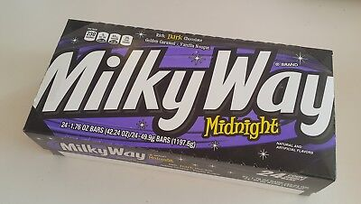Milky Way Midnight Dark Candy Bar 24/1.7oz,Chocolate,Caramel,Vanilla Nougat,Mars Chocolate Vanilla Candy Bar