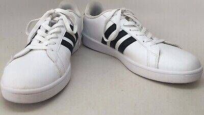 Adidas Neo White Leather Black Accent Striped Low Cut Men's Sneakers Size US 12 Adidas Low Cut Sneaker