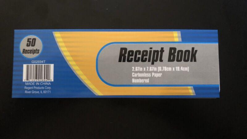 50 CARBONLESS RECEIPTS - 1 BOOK OF 50 - CASH MONEY RENT RECEIPT DUPLICATE COPY