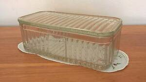 Vintage Glass Cheese Butter Fridge Box Container Golden Grove Tea Tree Gully Area Preview