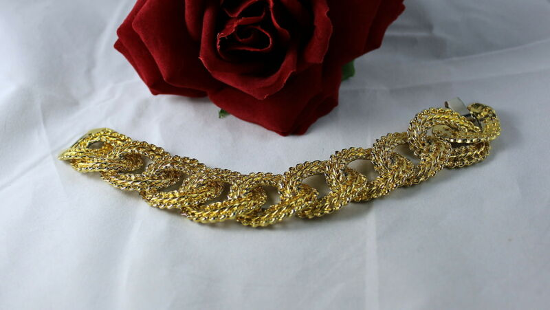 Vintage Textured Gold tone Links Bracelet FERAL CAT RESCUE
