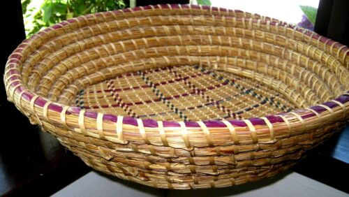 Large antique native woodland basket strainer rye grass, American, coil & twine