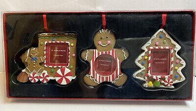 St. Nicholas Square Ornament Photo Frames Set of 3 Gingerbread Train Tree