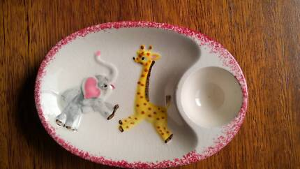 Vintage Retro Children's Egg Cup Plate Elephant & Giraffe 50s Golden Grove Tea Tree Gully Area Preview