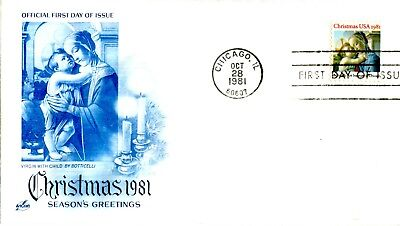1981 CHRISTMAS RELIGIOUS ISSUE VIRGIN WITH CHILD BY BOTTICELLI ART CRAFT UNA FDC