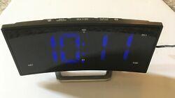 La Crosse Technology 1.8 Inch Curved Blue LED Atomic Dual Alarm Clock