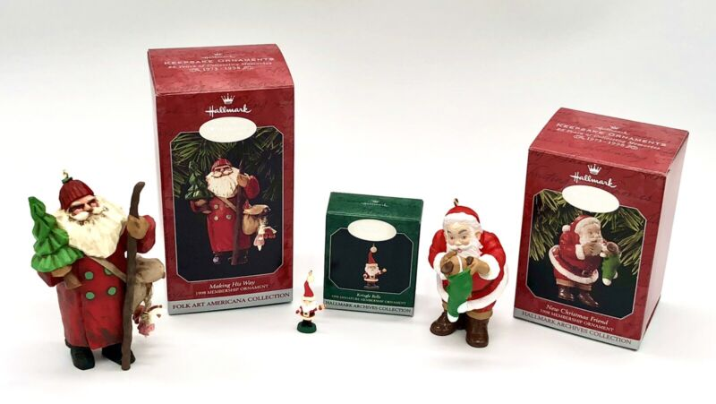1998 HALLMARK KEEPSAKE ORNAMENT MEMBERSHIP KIT SET OF THREE ORNAMENTS